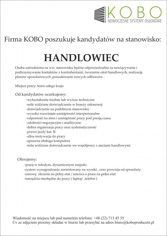 Oferta Pracy Handlowiec