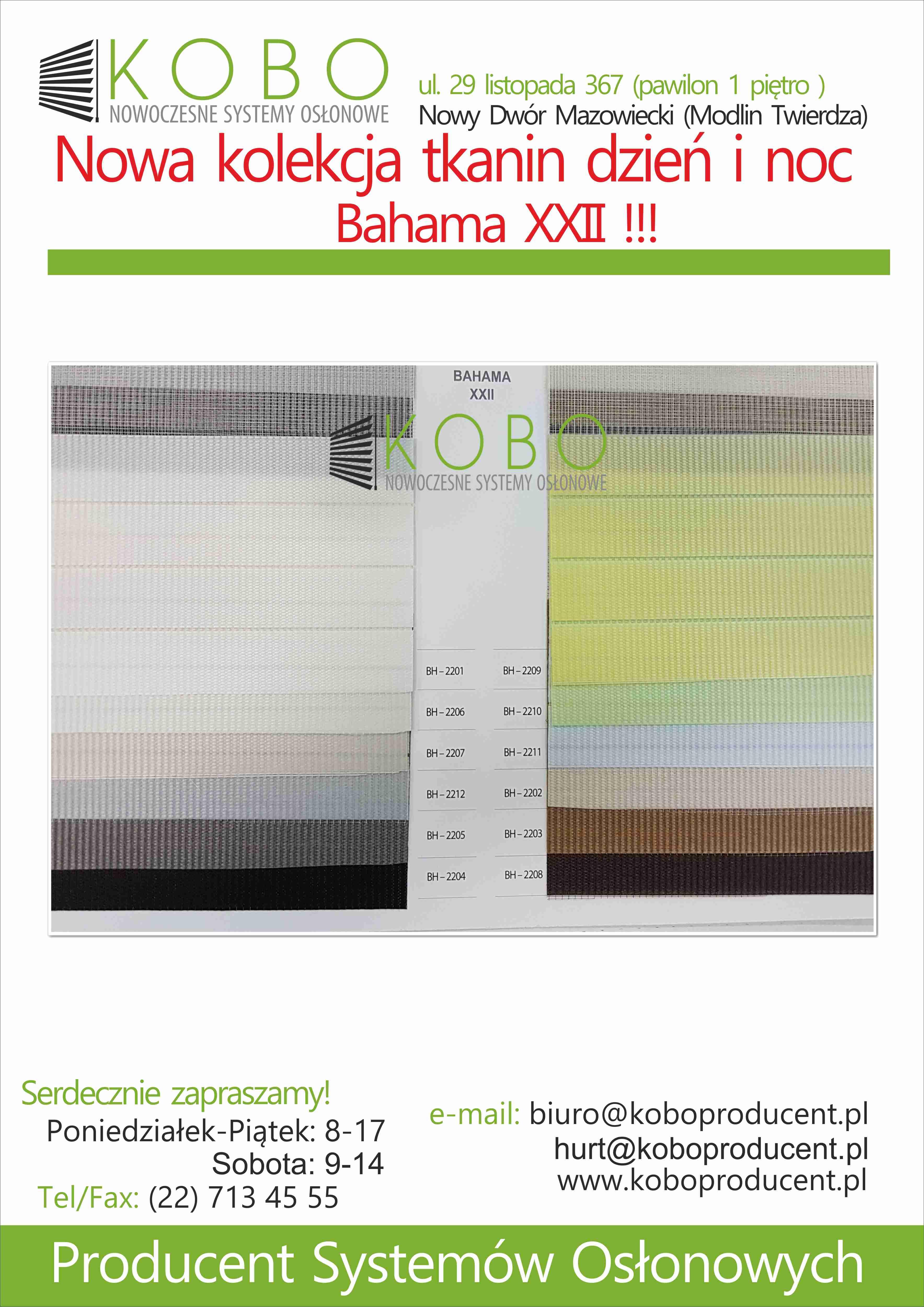NOWA KOLEKCJA TKANIN DZIEŃ NOC BAHAMA XXII !!!